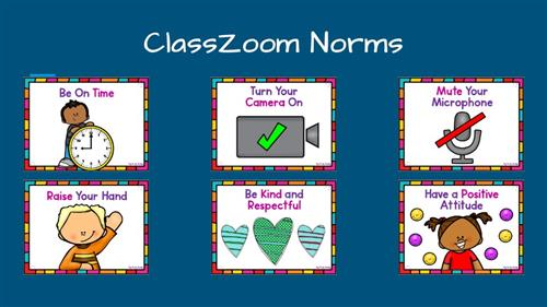 ClassZoom Norms, Be on time, Turn on your camera, mute your microphone, raise your hand, be kind and respectful and have a po